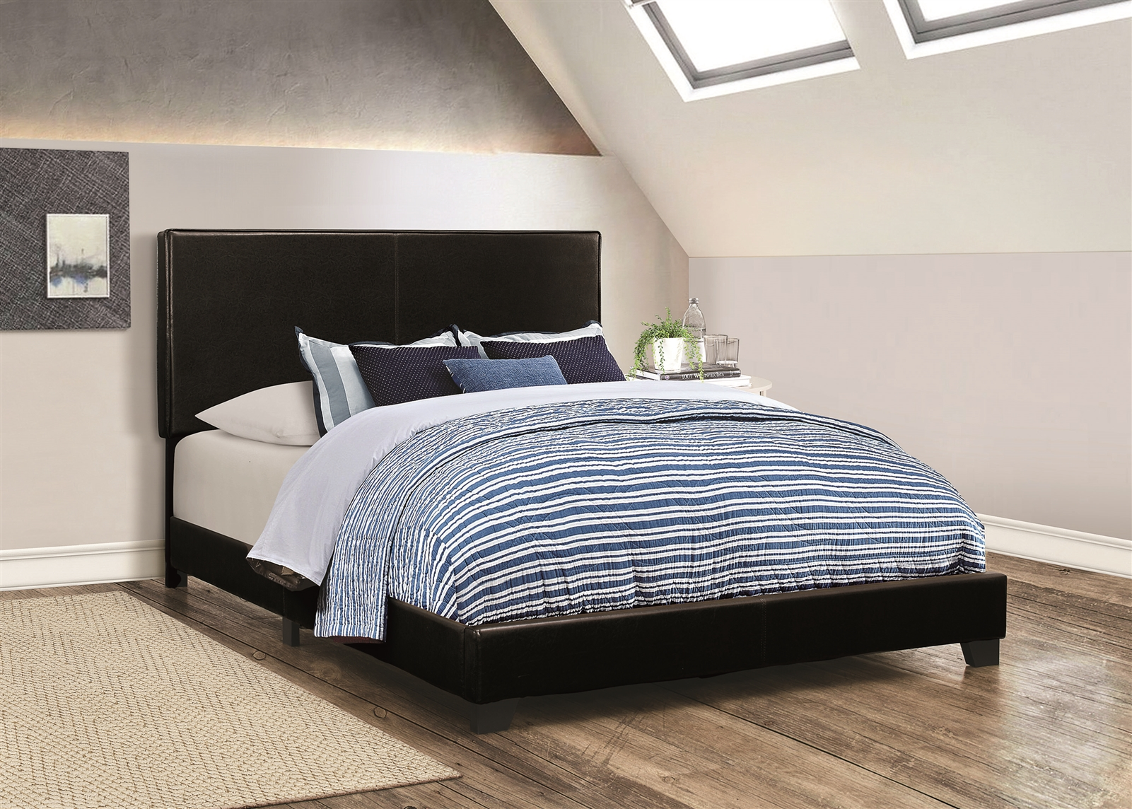 Sleek Low Profile Black Leatherette King Bed
