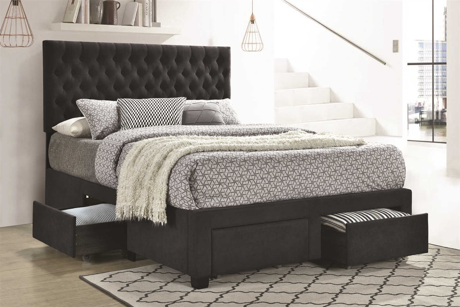 Lompoc Tufted Grey Linen Upholstered Platform Storage Bed