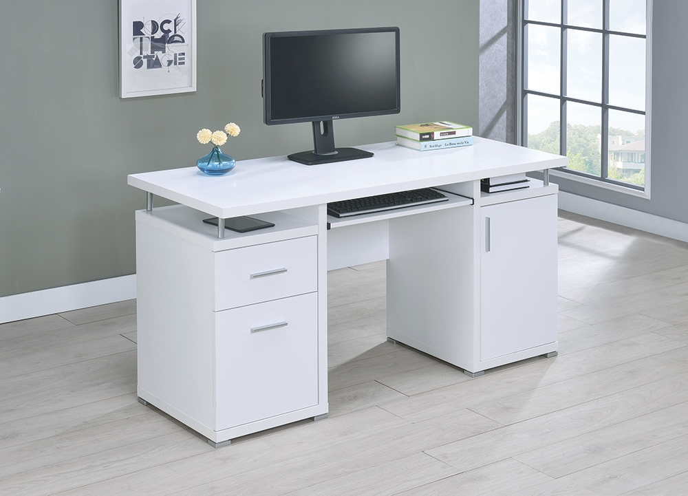 Computer Desk With 2 Drawers Cabinet, White Modern Office Desk