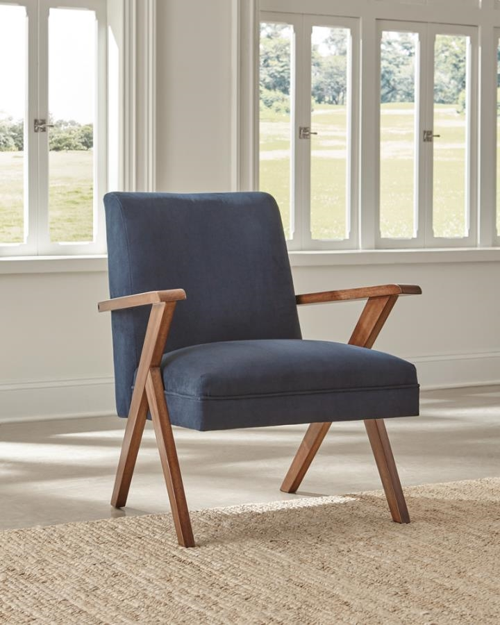 Monrovia Wooden Arms Accent Chair Dark, Accent Chairs With Wooden Arms