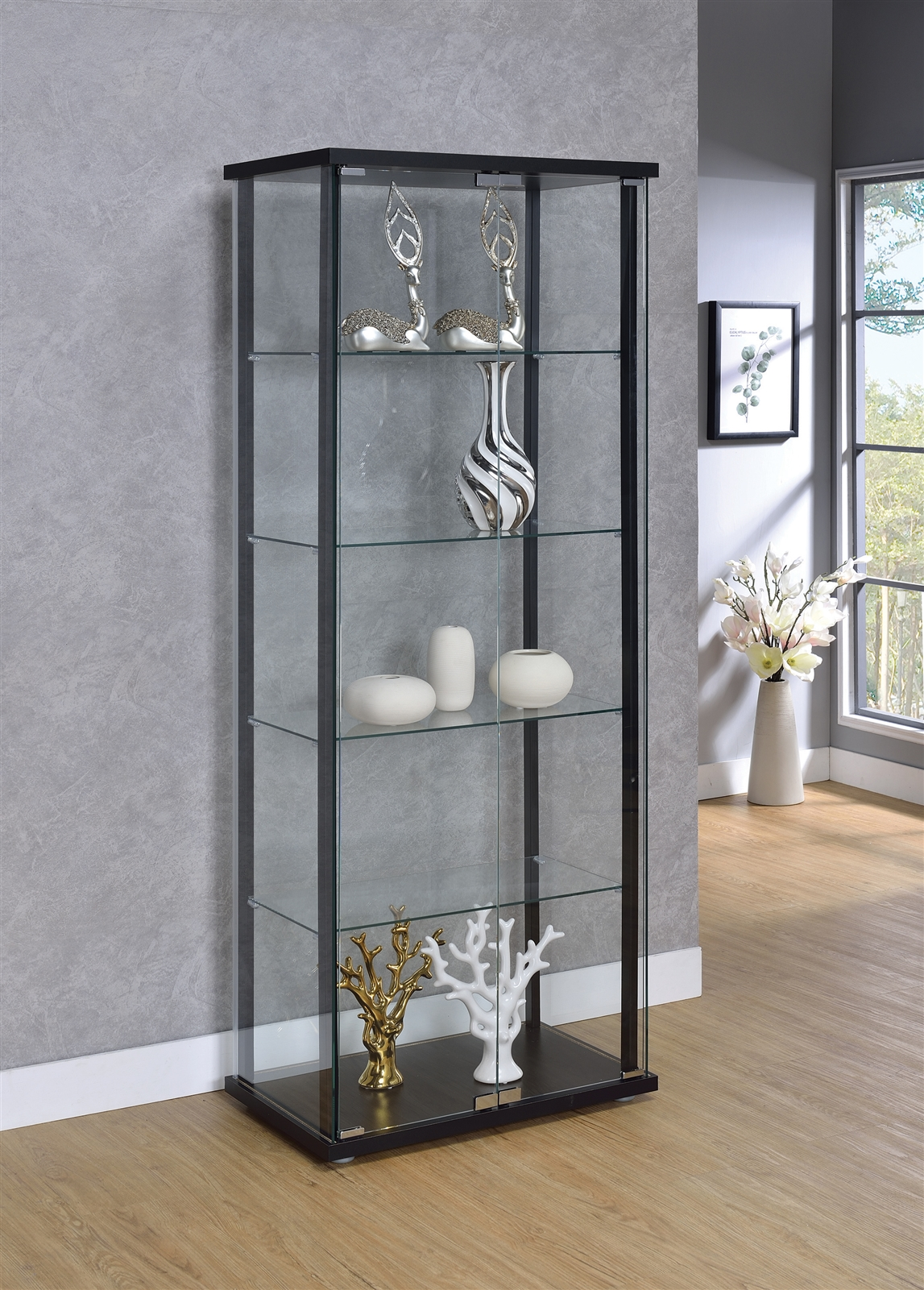 5-Shelf Glass Curio Cabinet Black And Clear - Coaster 950170