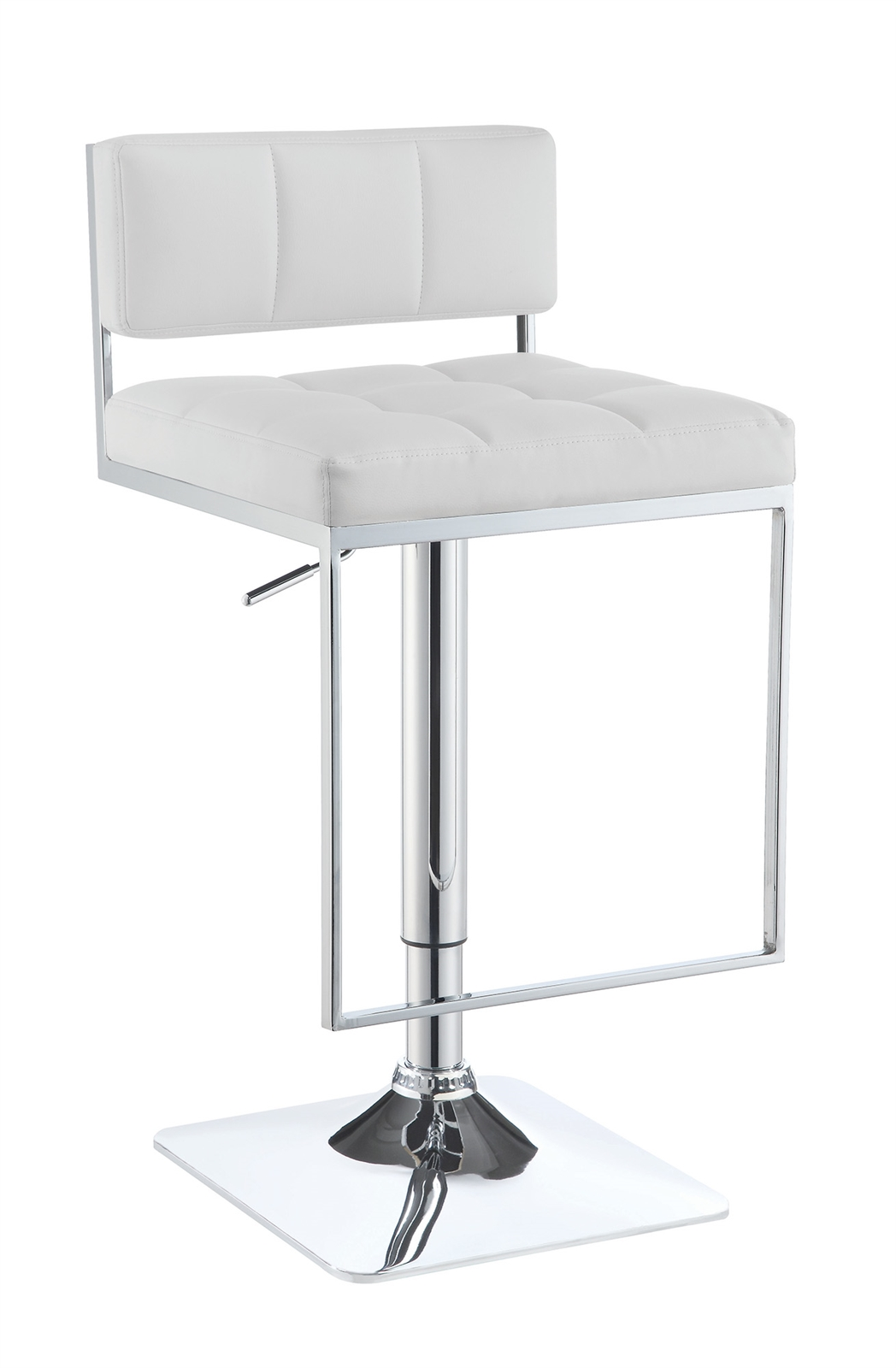 Image of: Ultra Modern White Leatherette Bar Stool With Chrome Base