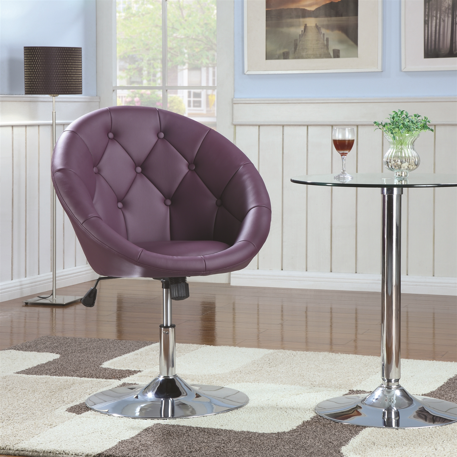 Mick Round Purple Leatherette Tufted Swivel Chair
