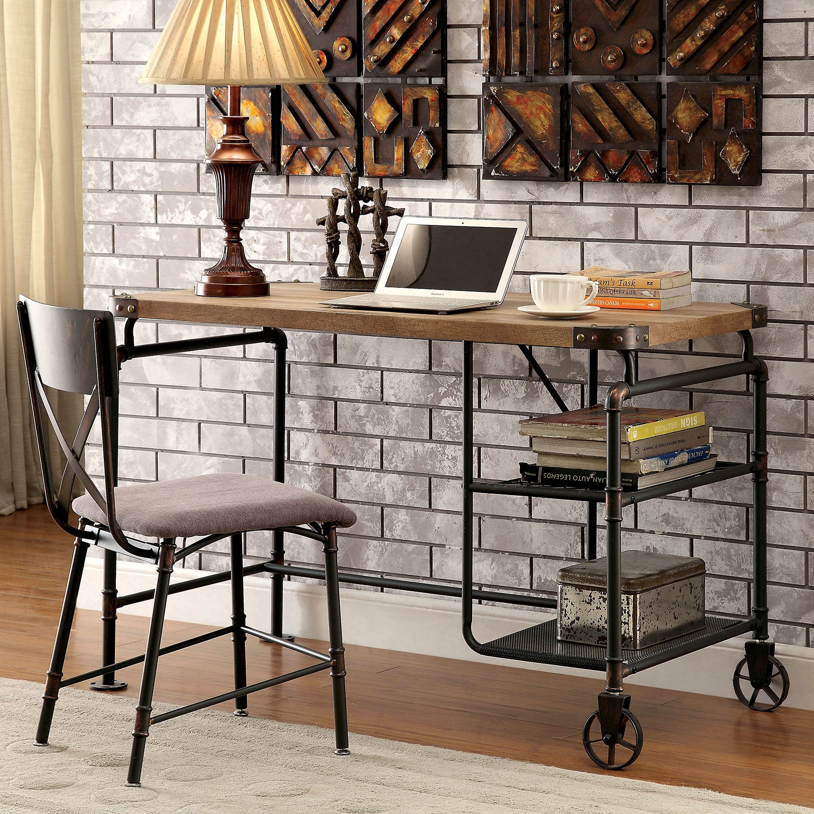 Olga Industrial Style Desk On Casters
