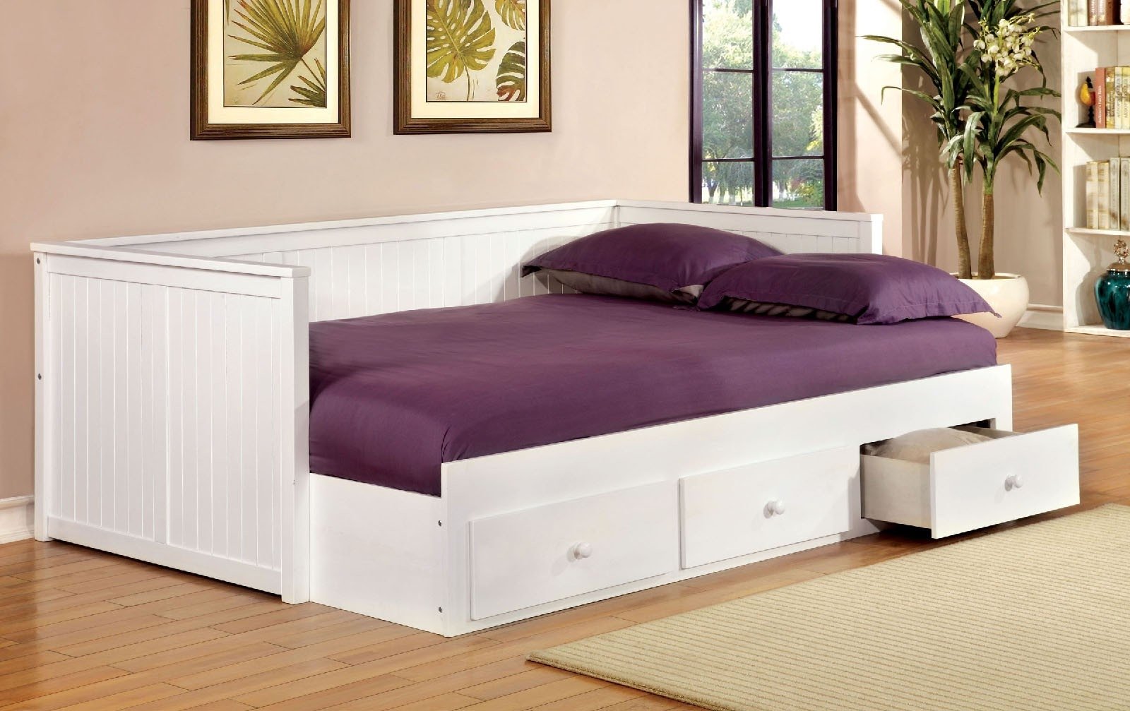 - Cottage Style White Finish Full Size Platform Daybed With 3 Built