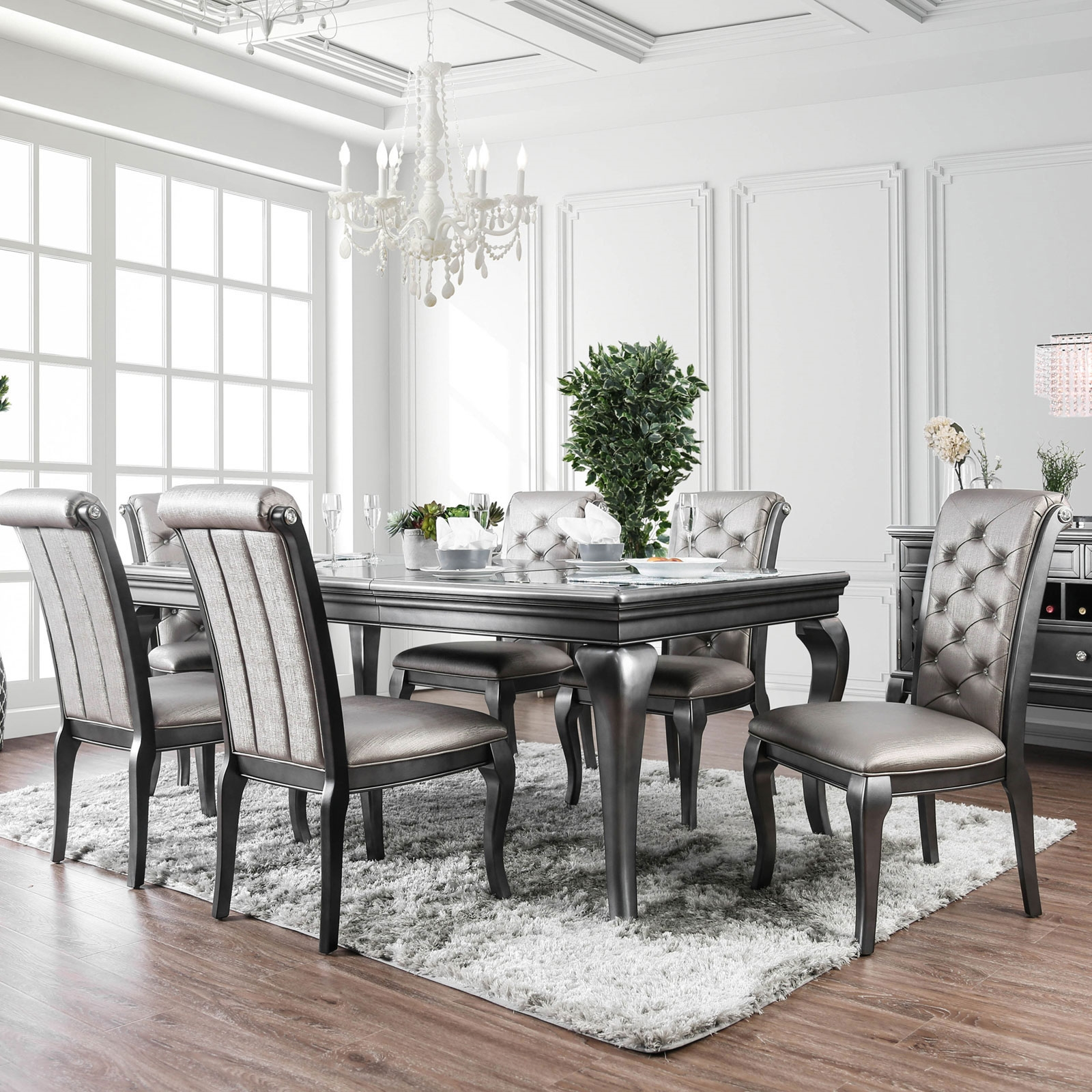 Transitional Glam Style Formal Dining Set, 7 Piece Dining Room Set