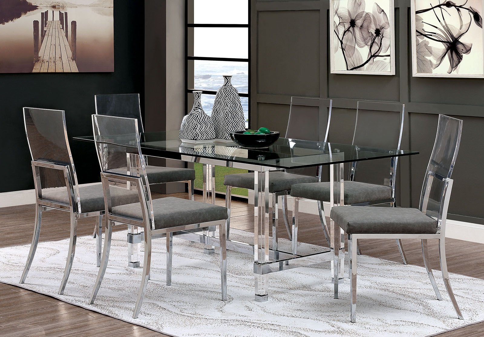 Casper Ultra Chic Chrome Acrylic Modern 5 Piece Dining Set By Furniture Of America