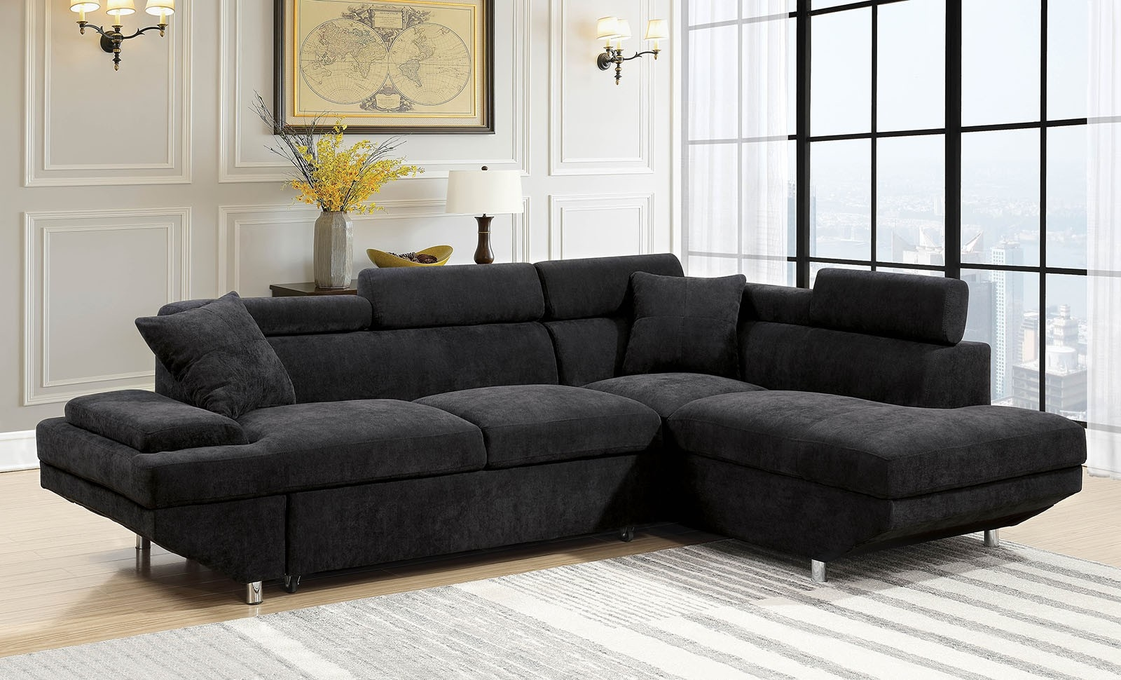 - Modern Style Flannelette Upholstered Sectional
