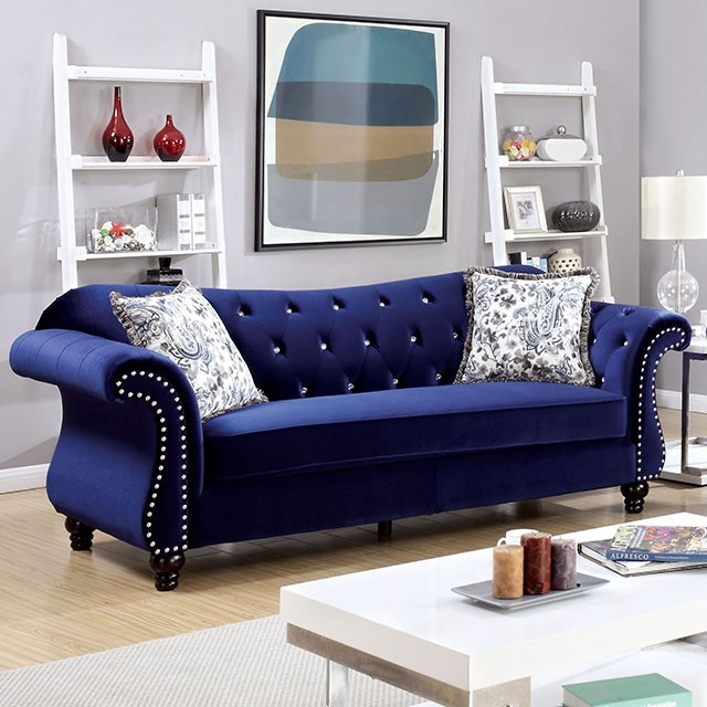 Jolanda Collection Royal Blue Flanellet Upholstered Sofa With Rolled Arms And Nailhead Trim By Furniture Of America Cm6159