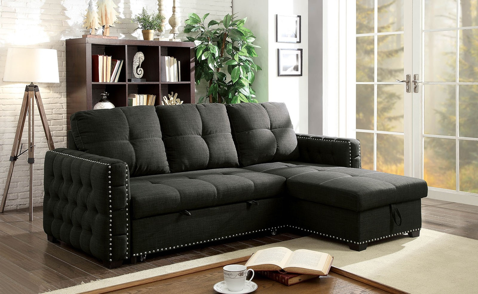 Picture of: Demi Dark Grey Tufted Linen Sectional With Pull Out Bed Furniture Of America Cm6562