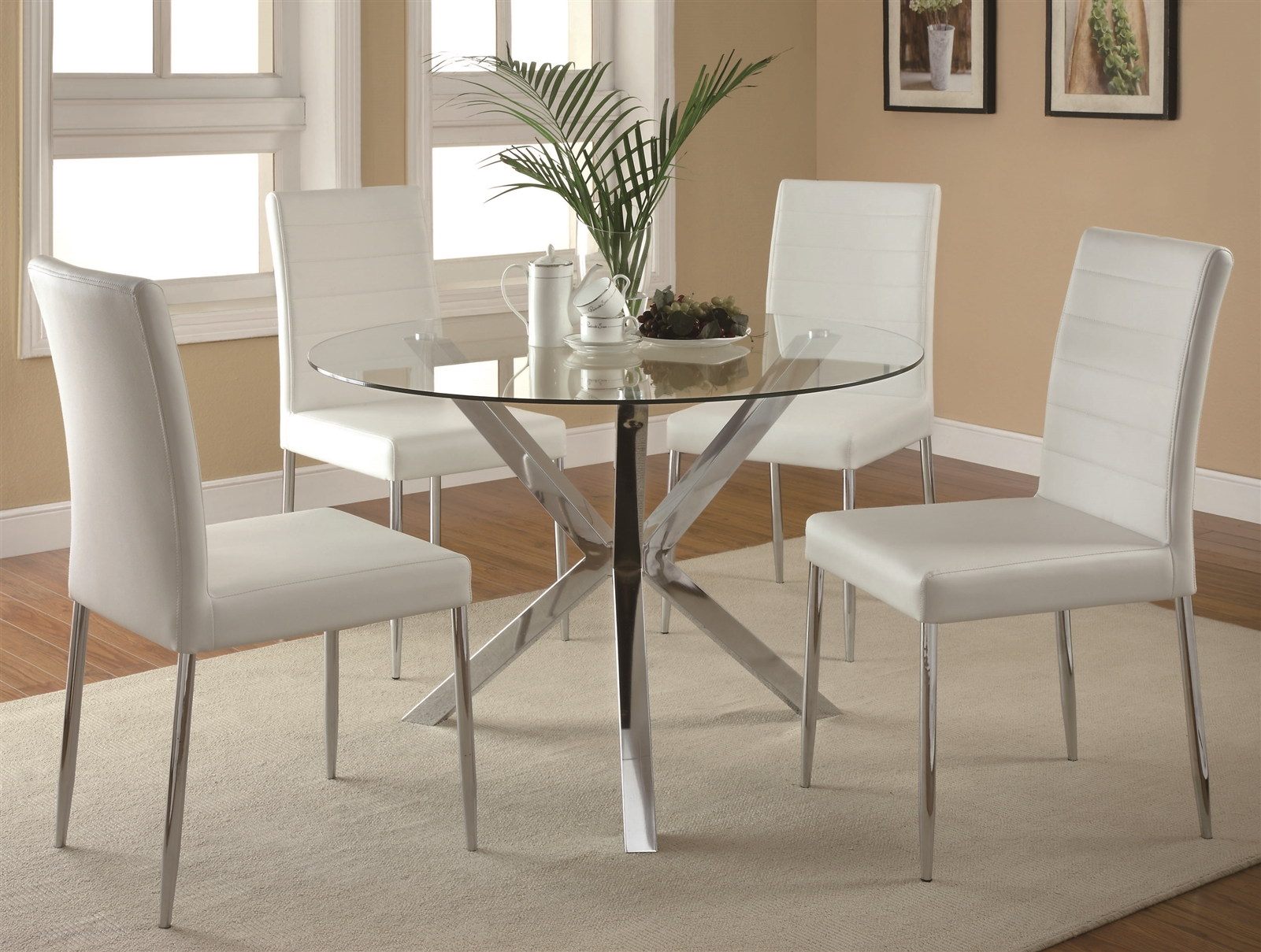 Picture of: Bonsall Contemporary Round Glass Dining Set W Chrome Base